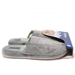 Анатомични домашни чехли, дамски, леки, текстилни, гъвкави / Defonseca ROMA TOP I W664 сив / MES.BG