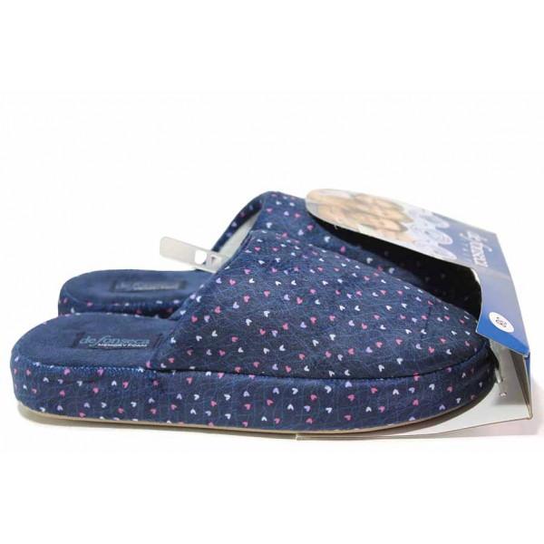 Анатомични домашни чехли, дамски, мемори пяна, леки, текстилни / Defonseca MATERA I W615 син / MES.BG