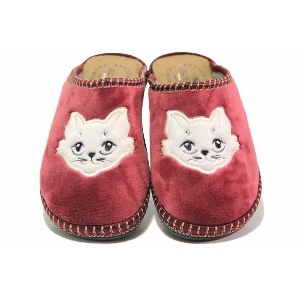Български домашни чехли, дамски, анатомични, гъвкави, леки, топли / Spesita 20-132 бордо / MES.BG