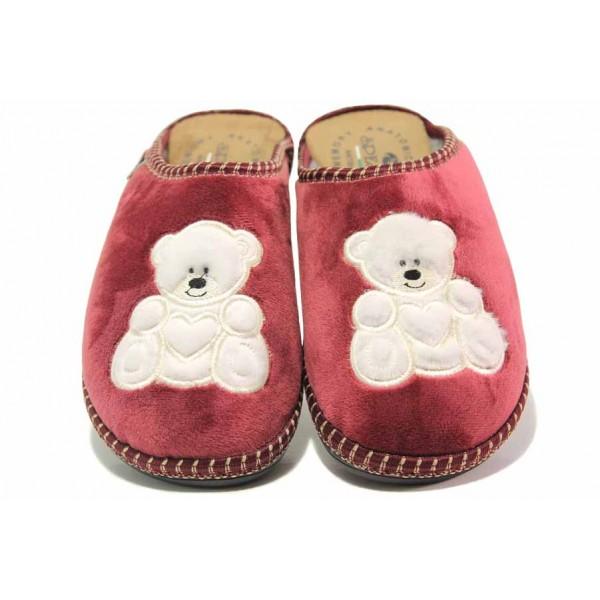 Български домашни чехли, дамски, анатомични, олекотени, топли / Spesita 20-115 бордо / MES.BG