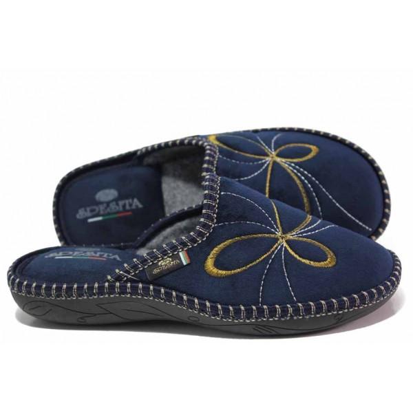 Анатомични домашни чехли, текстил, дамски, гъвкави, леки, български / Spesita 20-130 син / MES.BG