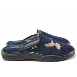 Анатомични домашни чехли, мъжки, топли, текстилни, български / Spesita 20-124 син / MES.BG