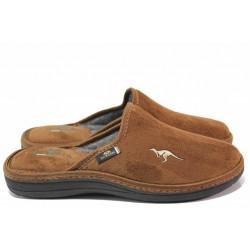 Домашни чехли, мъжки, анатомични, топли, български, високо ходило / Spesita 20-121 камел / MES.BG