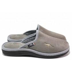 Мъжки домашни чехли, анатомични, български, текстилни, изчистени / Spesita 20-121 сив / MES.BG