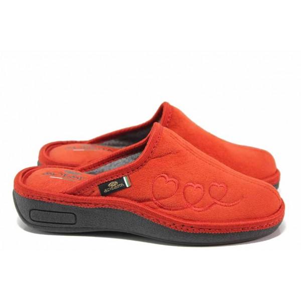 Дамски домашни чехли, текстилни, анатомични, български, топли / Spesita 20-105 червен / MES.BG