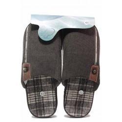 Домашни чехли, анатомични, текстил, топли, мъжки / Bulldozer 20-3 кафяв / MES.BG