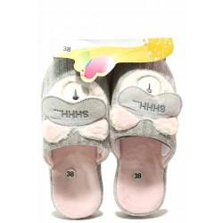 "Анатомични домашни чехли, дамски, текстил, леки, апликация ""Спящо мече"" / Bulldozer 20-8 сив-розов / MES.BG"