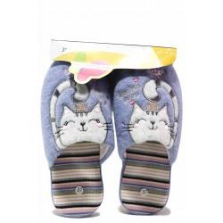 "Домашни чехли, анатомични, дамски, текстил, леки, картинка ""Коте"" / Bulldozer 20-9 син / MES.BG"