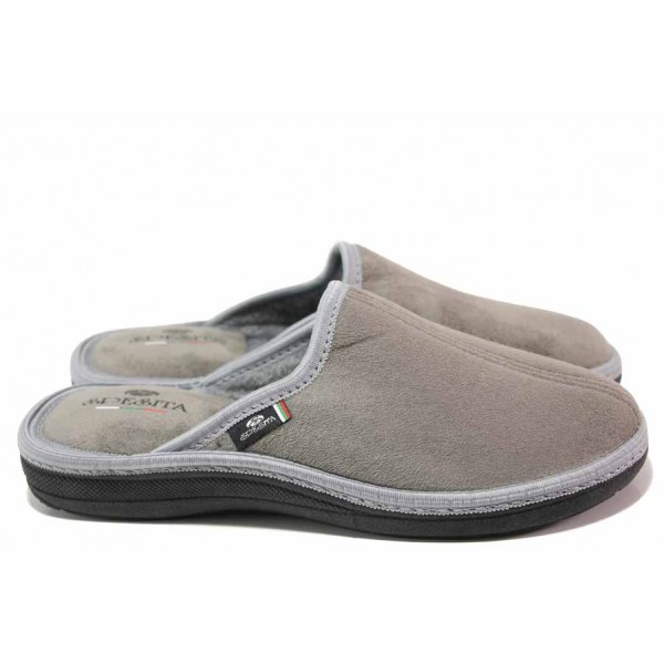 Мъжки домашни чехли, анатомични, топли, български, твърдо ходило / Spesita 20-120 сив / MES.BG