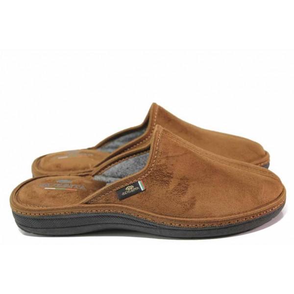 Анатомични домашни чехли, мъжки, топли, текстилни, български / Spesita 20-120 кафяв / MES.BG