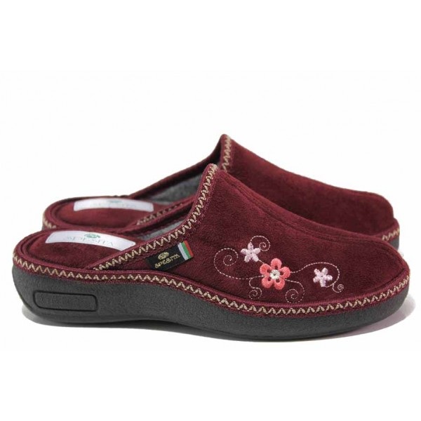 Анатомични дамски домашни чехли с акцент цвете / Spesita 20-106 бордо / MES.BG