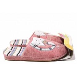 """Олекотен модел домашни антомични чехли с апликация """"Коте"""" / Bulldozer 20-9 розов / MES.BG"""