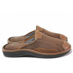Анатомични мъжки домашни чехли с кожени платки / Spesita 20-133 кафяв / MES.BG