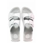 Анатомични български чехли с масажно ходило, каишки за регулиране на ширината / Spesita 115-1 бял / MES.BG