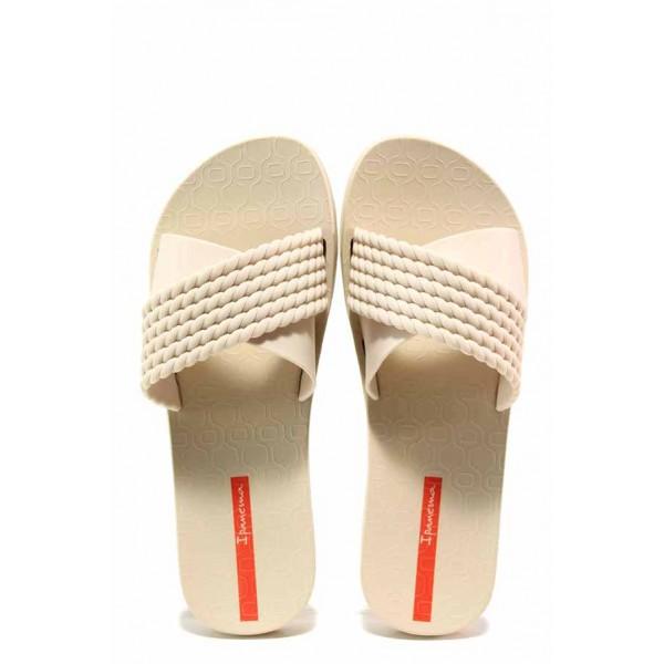 Анатомични дамски чехли с кръстосани ленти, еластично ходило, висококачествени материал / Ipanema 26400 бежов / MES.BG