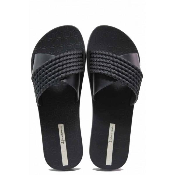 Равни дамски чехли, анатомични, кръстосани ленти, бразилски джапанки / Ipanema 26400 черен / MES.BG