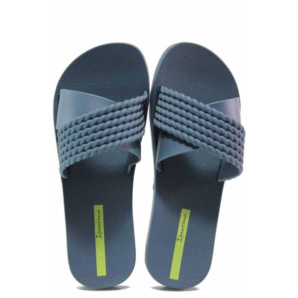 Равни анатомични чехли с кръстосани ленти, изцяло от висококачествен PVC материал / Ipanema 26400 син / MES.BG