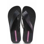 Дамски бразилски чехли, лента между пръстите, анатомично ходило от висококачествен PVC материал / Ipanema 26445 черен / MES.BG