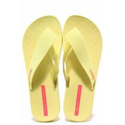 Дамски бразилски чехли с лента между пръстите, свеж летен цвят, анатомично ходило / Ipanema 26445 жълт / MES.BG