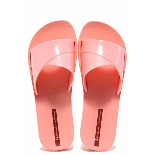 Дамски бразилски чехли, цяла лента, ходило с плавна анатомична извивка / Ipanema 26366 розов / MES.BG