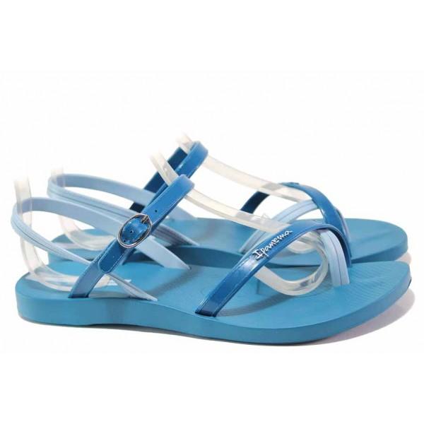 Бразилски дамски сандали с асиметрични каишки, гъвкаво и еластично ходило, анатомични / Ipanema 82682 син / MES.BG