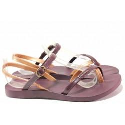 Бразилски дамски сандали, анатомични, каишки около петата и глезена / Ipanema 82682 бордо-роза / MES.BG