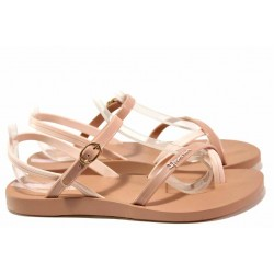 Равни анатомични сандали, каишки около петата и глезена, катарама / Ipanema 82682 бежов-розов / MES.BG