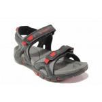 Анатомични юношески сандали, велкро лепенки, гъвкаво ходило, висококачествена еко-кожа, леки / Runners 191-005 черен-червен / MES.BG