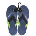 Анатомични юношески джапанки, между пръстите, леки, гъвкави / Runners 201-25503 син-зелен / MES.BG