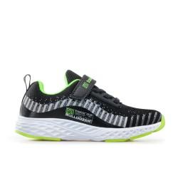 Олекотен модел дишащи детски маратонки / Bull 201084 черен-зелен / MES.BG