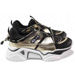 Модерни дамски маратонки с връзки ТЯ 4409 черен-златен | Дамски маратонки | MES.BG