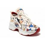 Модерни дамски маратонки с връзки ТЯ 3099 бял цветя | Дамски маратонки | MES.BG