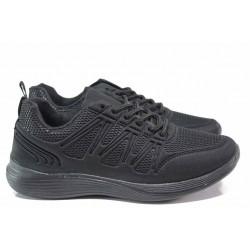 Спортни юношески обувки, висококачествен текстил, регулатор - връзки, удобно ходило / БР 201059 черен / MES.BG
