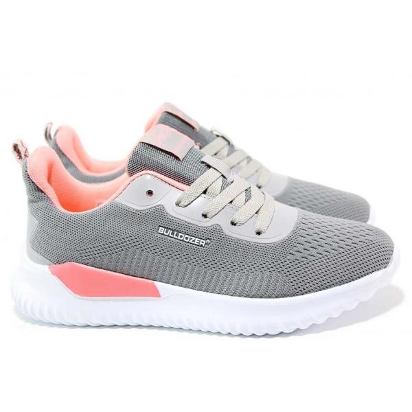 Дамски обувки за спорт и ежедневието, текстилна лицева част, удобни и леки / БР 201056 сив / MES.BG