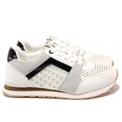 Дамски спортни обувки, комфортно ходило, модерна визия, антибактериален текстилен хастар от 100% памук / БР 92085 бял / MES.BG
