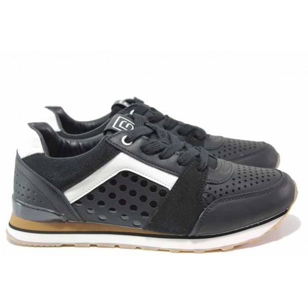 Дамски маратонки в черен цвят с актуално-моден дизайн, класическо ходило, стелка от микрофибър, връзки при свода / БР 92085 черен / MES.BG