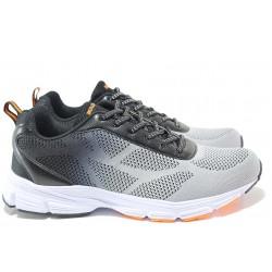 Мъжки маратонки с модерен дизайн, комфортно ходило, връзки при свода, фин и мек текстил / БР 201032 сив-черен / MES.BG