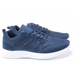 Юношески маратонки в син цвят, комфортно ходило, микрофибърна стелка / БР 201059 т.син / MES.BG