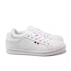 Анатомични спортни обувки; връзки; перфорация; еластично ходило; изцяло естествена кожа / АБ SP 07-20 бял / MES.BG