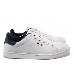 Комфортни мъжки спортни обувки; връзки при свода, антибактериален хастар / АБ SP 01-20 бял / MES.BG