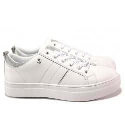 Спортни юношески обувки, олекотени, гъвкаво ходило, връзки / АБ RH 09-20 бял-сребро / MES.BG
