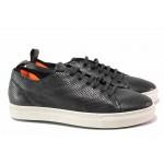 Практични спортни обувки, връзки, естествена кожа, еластично ходило / Ани 2318 черен / MES.BG