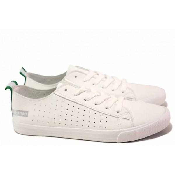 Дамски спортни обувки с мека стелка, връзки при свода, перфорация / Ани 30382-2 бял / MES.BG