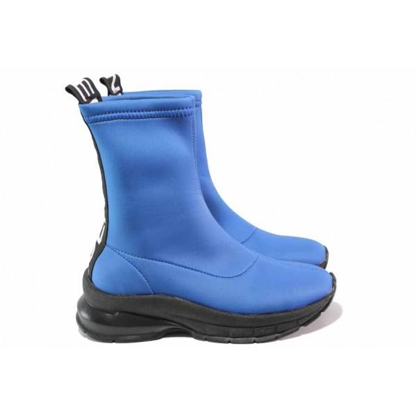 Дамски спортни боти, текстил, олекотени, ластичен чорап / ТЯ 3067 син / MES.BG