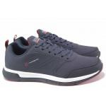 Стилни мъжки маратонки, анатомични, еко-кожа, връзки / Runners 202-2924 син-червен / MES.BG