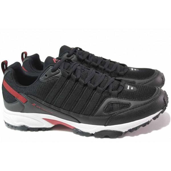 Мъжки маратонки, олекотени, анатомични, гъвкави, текстил / Runners 201-1016 черен-бордо / MES.BG
