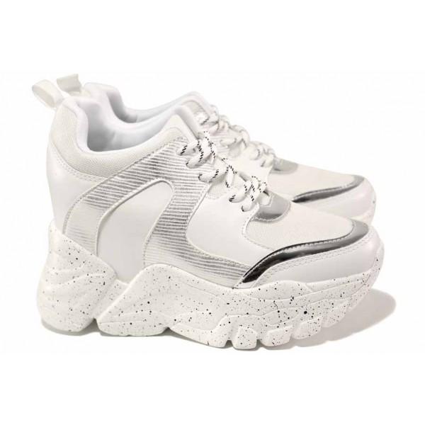 Дамски маратонки, скрита платформа, гъвкави, леки / Runners 4365 бял / MES.BG