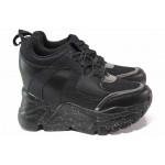 Дамски маратонки със скрита платформа, еко-кожа, олекотени, гъвкави, атрактивни / Runners 4365 черен / MES.BG