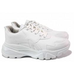 Класически дамски маратонки, еко-кожа, леки, връзки / ТЯ 422 бял / MES.BG