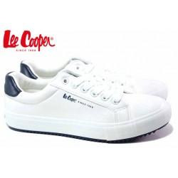 Юношески кецове, равни, гъвкави, кожени, връзки / Lee Cooper 20-31-072 бял-син / MES.BG